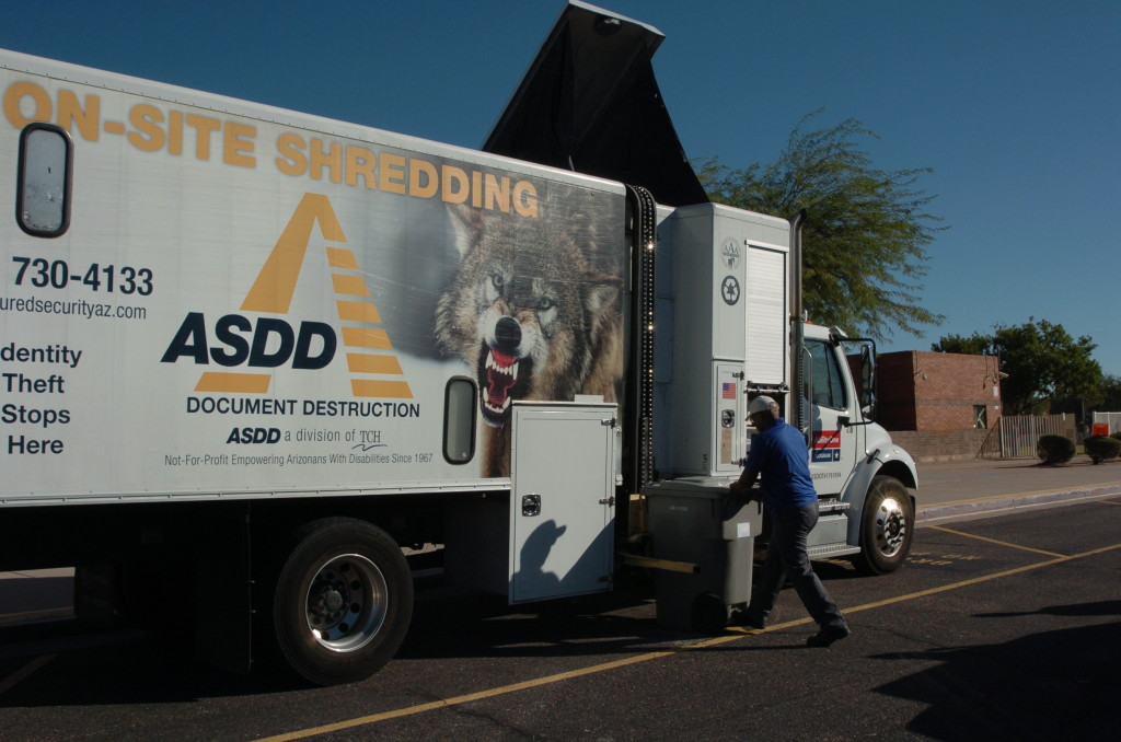 ASDD Document Shred Truck in Action - Ahwatukee Shred-A-Thon